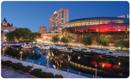 The Shaw Centre in downtown Ottawa is situated adjacent to the historic Rideau Canal