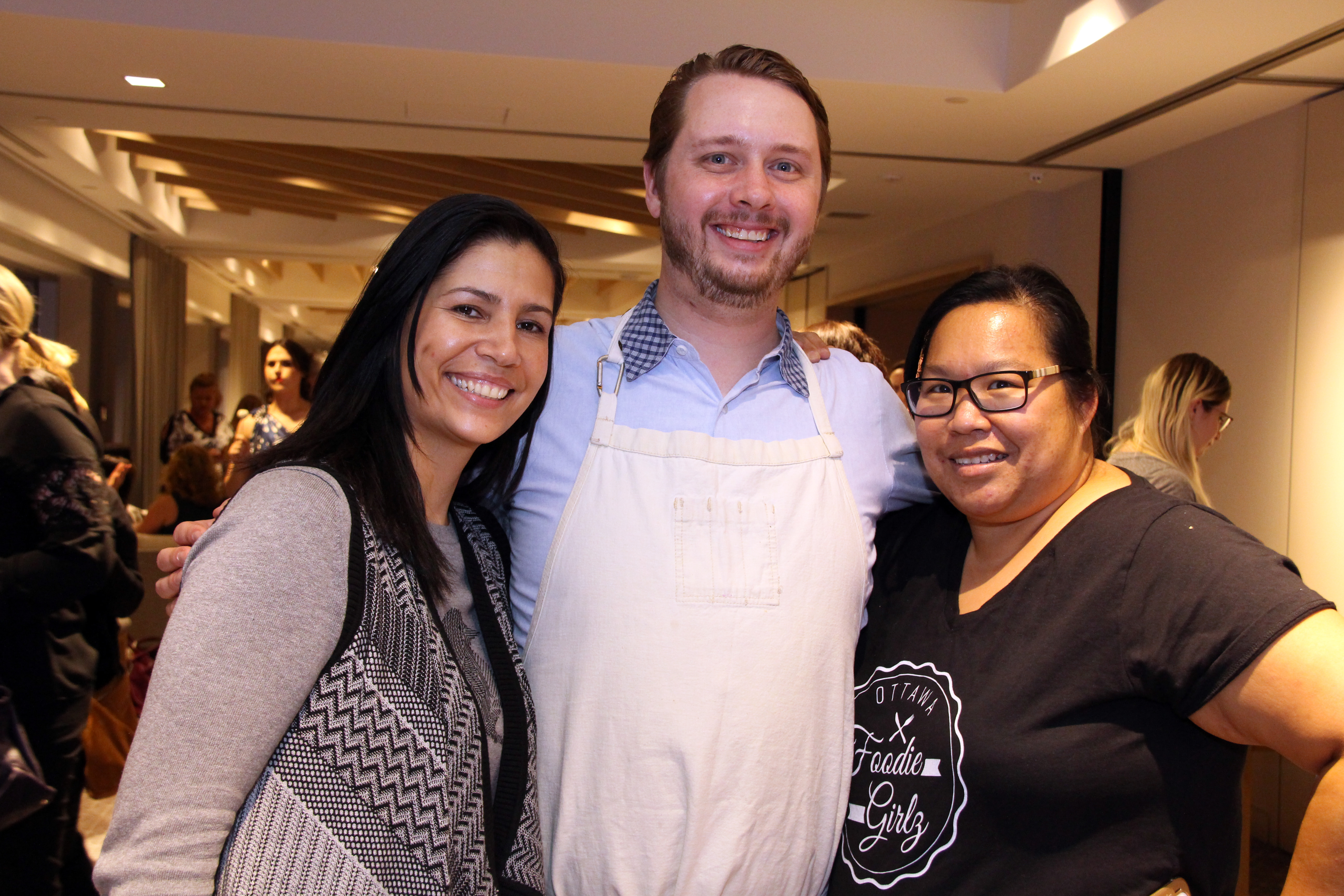 From left, Cristina Velez, director of human resources at Andaz Ottawa Byward Market, with the hotel's executive chef, Stephen La Salle, and Judy Hum-Delaney, founder of Ottawa Foodie Girlz, on Friday, March 24, 2017, for Ladies' Night in support of Harmony House second-stage women's shelter. (Photo by Caroline Phillips)