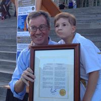 Mayor Watson and Jacob. Mayor Watson supporting our efforts to raise awareness by proclaiming Childhood Cancer Awareness Day in the City of Ottawa.