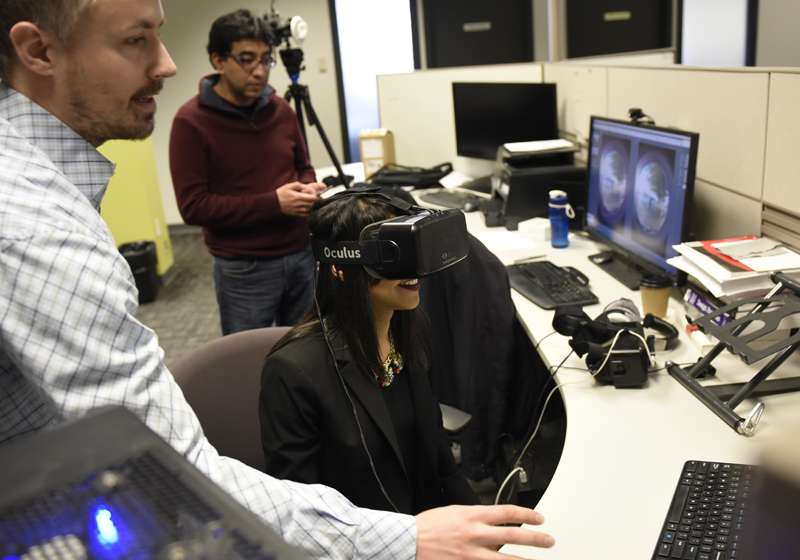 Minister Bardish Chagger interacts with virtual reality technology from local startup Brinx.