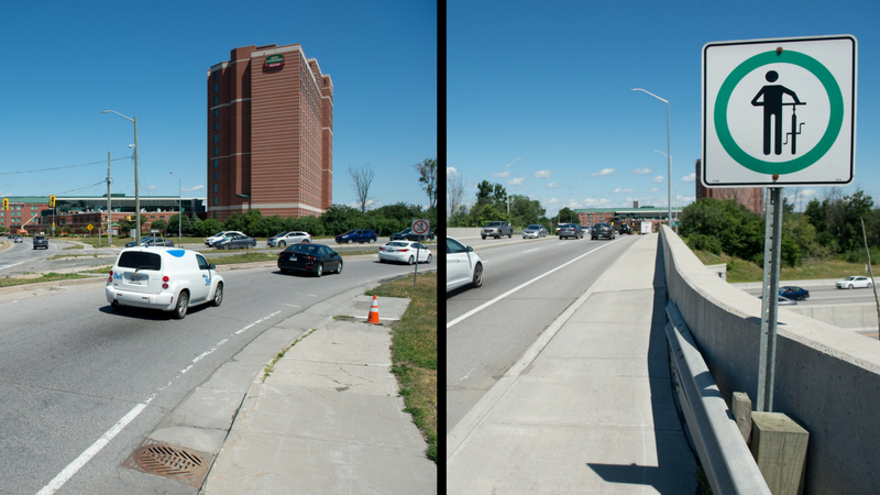 Two images: At left, the bike lane that tapers off on the edge of the road. At right, the sign prompting cyclists to walk their bikes across the bridge.