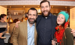 From left, Micah Garten from Shepherds of Good Hope with Dawson Hamilton from the Ottawa Jazz Festival and Stephanie Brazolot, also with Shepherds of Good Hope, at the grand opening party held Thursday, March 23, 2017, for the restaurant's new Heritage Room Gastropub located at Novotel Ottawa. (Photo by Caroline Phillips)