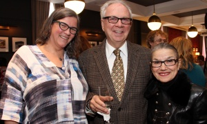 From left, Jantine Van Kregten, director of communications for Ottawa Tourism, with retired diplomat Larry Dickenson and his wife, local food personality Margaret Dickenson, on Thursday, March 23, 2017, at the grand opening celebration for the restaurant's new Heritage Room Gastropub, located at Novotel Ottawa. (Photo by Caroline Phillips)