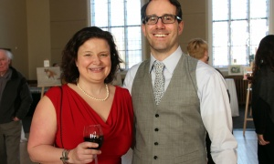 Ottawa lawyer Tina Hill, president of the board of Big Brothers Big Sisters Ottawa, with her husband, Graham Ragan, a partner at Gowling WLG, at the Glebe Community Centre on Saturday, March 25, 2017, for the return of the Big Art Come Back fundraiser for Big Brothers Big Sisters of Ottawa and Operation Come Home. (Photo by Caroline Phillips)
