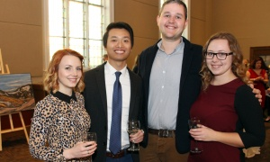 From left, Chantal Vachon with Wilson Li from Logan Katz LLP, Josh Schram and Rachel McDonald, also with Logan Katz, at the Glebe Community Centre on Saturday, March 25, 2017, for the return of the Big Art Come Back fundraiser for Big Brothers Big Sisters of Ottawa and Operation Come Home. (Photo by Caroline Phillips)