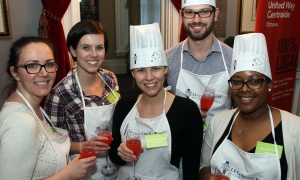 From left, Nelligan O'Brien Payne LLP associate Dana Du Perron and her colleagues Jill Lewis, Karine Dion, Jake Ruddy and Ludmilla (Milla) Jarda participated in United Way Ottawa's inaugural Food Fusion cooking competition held at Le Cordon Bleu on Thursday, March 30, 2017. (Photo by Caroline Phillips)
