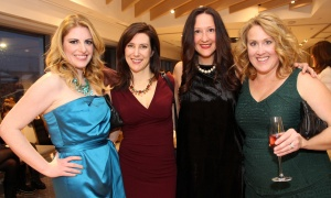 From left, Arwen Bobyk, with Jennifer Innes and her sister-in-law Meghan Innes, and Jeri Campbell, wife of RedBlacks coach Rick Campbell, at Andaz Ottawa Byward Market on Friday, March 24, 2017, for Ladies' Night in support of Harmony House second-stage women's shelter. (Photo by Caroline Phillips)