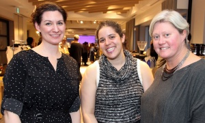 From left, Hummingbird Chocolate co-owner Erica Gilmore, Top Shelf Preserves chef and owner Sara Pishva and Elizabeth Kilvert, owner of  The Unrefined Olive, were among the vendors out at the Andaz Ottawa Byward Market hotel on Friday, March 24, 2017, helping to support the Ladies' Night for Harmony House. (Photo by Caroline Phillips)