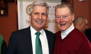 From left, Larry Kelly, law partner at Kelly Santini, with hockey legend Brian Kilrea  at the Heart & Crown Irish Pub in the ByWard Market on Friday, March 10, 2017 at the Irish Canadian Saint Patrick's Week Luncheon, which raises funds that benefit such charities as the Bruyère Foundation. (Caroline Phillips / Ottawa Business Journal)