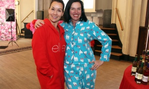 From left, Sandra Tisiot, founder of the Women in Business Conference, and Nicole Loreto, in llama-printed PJs, at the conference's Pre-Event Pajama Party held at allsaints on Sunday, March 5, 2017. (Photo by Caroline Phillips)