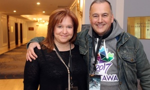 Deneen Perrin, director of public relations for the Fairmont Château Laurier, with Guy Laflamme, executive director of Ottawa 2017, at the hotel on Saturday, March 4, 2017, during the Red Bull Crashed Ice world championships that drew many thousands to downtown Ottawa to watch. (Photo by Caroline Phillips)