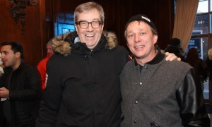 From left, Mayor Jim Watson with Bruce Linton, chairman and CEO of Canopy Growth Corporation, at the Fairmont Château Laurier on Saturday, March 4, 2017, for a VIP party held during the Red Bull Crashed Ice world championship held during Canada's yearlong 150th anniversary. (Photo by Caroline Phillips)
