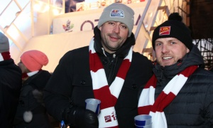 From left, retired Ottawa Senators player Chris Phillips with his buddy, Dean Usher, of CIBC Woody Gundy, Usher Wealth Management, on the terrace of the Fairmont Château Laurier on Saturday, March 4, 2017, to watch the Red Bull Crashed Ice world championship. (Photo by Caroline Phillips)