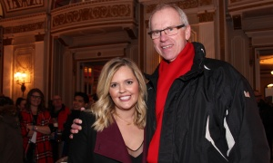 Ottawa 2017 board members Brittany Forsyth, senior vice president with Shopify, and Bernie Ashe, CEO of Ottawa Sports and Entertainment Group (OSEG), at the VIP party held at the Fairmont Château Laurier on Saturday, March 4, 2017 for the Red Bull Crashed Ice winter extreme sporting event. (Photo by Caroline Phillips)