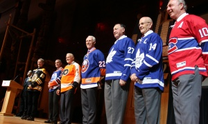 NHL alumni Rick Smith, Paul Coffey, Bernie Parent, Mike Bossy, Frank Mahovlich, Dave Keon and Guy Lafleur at the Canadian Museum of History on Wednesday, March 15, 2017, for the Stanley Cup 125th Evening Celebration. (Photo by Caroline Phillips)
