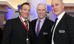 From left, former NHL player Shawn Rivers, president of Anish Branding and Gunn Media, with hockey legends Mike Bossy and Paul Coffey at the Canadian Museum of History on Wednesday, March 15, 2017, for the Stanley Cup 125th Evening Celebration. (Photo by Caroline Phillips)