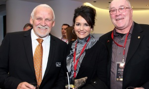 From left, retired Stanley Cup-winning goalie Bernie Parent with his wife, Gini Parent, and retired NHL player Fred Parent at the Canadian Museum of History on Wednesday, March 15, 2017, for the Stanley Cup 125th Evening Celebration. (Photo by Caroline Phillips)