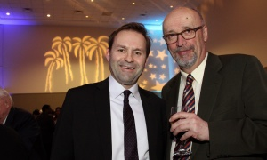 From left, Steve Babineau, account executive at Sun Life Financial, with Joe Zadzora, managed care consultant with Coughlin & Associates,  at the St. Patrick's Home of Ottawa Foundation's A Night at the Tropicana soirée held at the Ottawa Conference and Event Centre on Thursday, March 9, 2017.