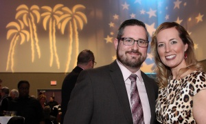Jason Bellefleur, board chair of the Orléans Chamber of Commerce and president of Bellefleur Physiotherapy, with his wife, Meghan Bellefleur, at the St. Patrick's Home of Ottawa Foundation's A Night at the Tropicana soirée held at the Ottawa Conference and Event Centre on Thursday, March 9, 2017.