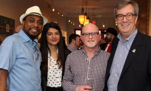 From left, Bruce House staff Clive Carter, Zhaida Uddin from Ottawa Public Health and Doug Cooper, also from Bruce House, with Mayor Jim Watson at a launch held Wednesday, April 19, 2017, at the Urban Element for the upcoming Taste for Life fundraiser in support of people living with HIV/AIDS. (Photo by Caroline Phillips)