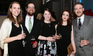 From left, Natalie Schuler, Mike Hewitson, Melanie Langevin, Charlotte Field and Nick Korhonen  from MNP LLP at the Sparkle Dental Charity Ball held at the Infinity Convention Centre on Saturday, April 30, 2017. (Photo by Caroline Phillips)