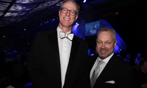 From left, Dr. Phil Wells, head of The Ottawa Hospital's department of medicine and a 2015 Dancing with the Doc participant, with Tim Kluke, president and CEO of The Ottawa Hospital Foundation, at this year's dance-competition fundraiser for the hospital, held at the Hilton Lac-Leamy on Saturday, April 8, 2017. (Photo by Caroline Phillips)