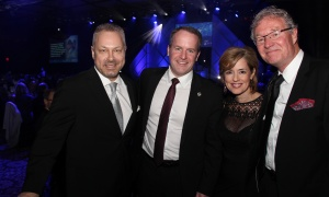 From left, Tim Kluke, president and CEO of The Ottawa Hospital Foundation, with the hospital's executive vice president and chief operating officer, Cameron Love; Renée Légaré, executive vice president and chief human resources officer, and the hospital's chief of staff, Dr. Jeff Turnbull, at the Dancing with the Docs fundraiser, held at the Hilton Lac-Leamy on Saturday, April 8, 2017. (Photo by Caroline Phillips)