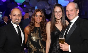 From left, Simon Nehme, entrepreneur and angel investor, and Clara Nehme with fellow gala committee member Tara-Leigh Cancino Brouillette and her partner, Jeff Mierins, owner of Star Motors, at Elmwood School's 28th annual gala, held at the all-girls private school in Rockcliffe Park on Saturday, April 22, 2017.  (Photo by Caroline Phillips)