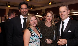 From left, Shawn Malhotra, vice president of Claridge Homes, and his wife Louise Malhotra with interior designer Henrietta Southam and prominent restaurateur Peter Boole at Elmwood School's 28th annual gala, held at the all-girls private school in Rockcliffe Park on Saturday, April 22, 2017. (Photo by Caroline Phillips)