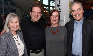 From left, Great Canadian Theatre Company board member Janice Payne, senior partner at Nelligan O'Brien Payne, with board chair Mitch Charness, partner at Ridout & Maybee, vice chair Jeanne Inch and board member Rob Woyzbun, president and managing director of The | Marketing | Works Inc., at the opening night of the new political comedy 1979, held Thursday, April 13, 2017.