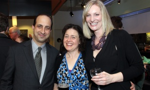 Sanjay Talwar (crouching) with fellow cast member Marion Day and costume designer Jennifer Goodman at the opening night of the new political comedy 1979, held Thursday, April 13, 2017. (Photo by Caroline Phillips)