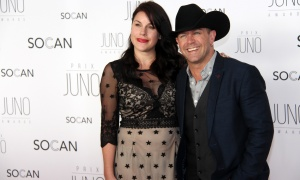 Canadian country singer Aaron Pritchett on the red carpet with his girlfriend Jessie Sherk on the red carpet at the JunoGala Dinner and Awards held at the Shaw Centre on Saturday, April 1, 2017. (Photo by Caroline Phillips)