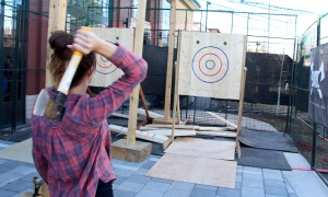 BATL's axe throwing station proved to be very popular at Sugar Lumberbest, an urban sugar shack event held at the Horticulture Building at Lansdowne Park on Saturday, April 8, 2017. (Photo by Caroline Phillips)