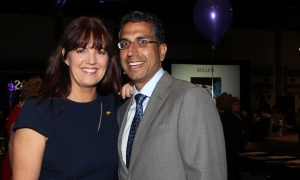 "Jacqueline Belsito, vice president of philanthropy and community engagement at the CHEO Foundation, with its outgoing board chair, Mahesh Mani, a partner at KPMG, at the 20th annual ""For the Kids"" Charitable Auction, held at the Shaw Centre on Thursday, April 20, 2017, to support programs and services at the Ottawa Children's Treatment Centre at CHEO. (Photo by Caroline Phillips)"