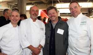 From left, chefs Cory Haskins and Scott Warrick from the faculty of Algonquin College's School of Hospitality and Tourism, with executive chef and partner Michael Moffatt from the Beckta group of restaurants, and chef Daniel Halden, also from Algonquin College, at The Innovation Centre at Bayview Yards on Thursday, April 6, 2017, for the official launch of the Parkdale Food Centre's Growing Futures initiative. (Photo by Caroline Phillips)