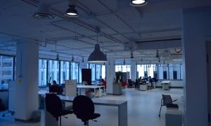 Co-working space, a bit more isolated from Impact Hub Ottawa's social centre.