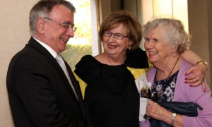 French Ambassador Nicolas Chapuis shares a laugh with, from left, Ellen Wright and Landon Pearson  at the Because Mothers Matter Awards held at the Embassy of France on Tuesday, May 16, 2017. (Photo by Caroline Phillips)