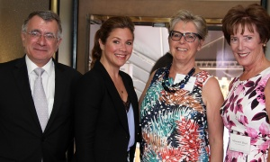 From left, French Ambassador Nicolas Chapuis with Sophie Grégoire Trudeau, HIPPY Canada CEO Debbie Bell and its board chair, Maureen Boyd, at the Because Mothers Matter Awards held at the Embassy of France on Tuesday, May 16, 2017. (Photo by Caroline Phillips)