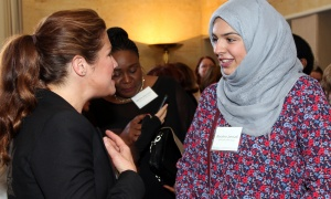 Sophie Grégoire Trudeau in conversation with Boushra Janoudi at the Because Mothers Matter Awards held at the Embassy of France on Tuesday, May 16, 2017. (Photo by Caroline Phillips)