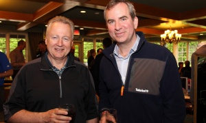 From left, Paul LaBarge, founding partner at LaBarge Weinstein, with Charles McCulloch, vice president of corporate philanthropy and partnerships at the University of Ottawa Heart Institute Foundation, at the 25th annual Fuller Keon Golf Tournament held at Loch March Golf & Country Club on Monday, May 29, 2017. (Photo by Caroline Phillips)