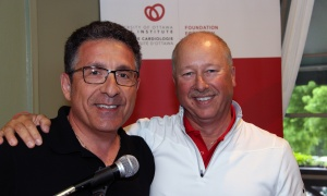From left, outgoing organizing committee chair Jim Reklitis with incoming chair, Merv Clost, on Monday, May 29, 2017, at the annual Fuller Keon Golf Tournament, held each year at the Loch March Golf & Country Club in support of the University of Ottawa Heart Institute. (Photo by Caroline Phillips)