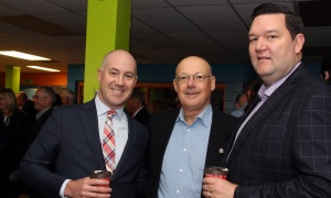 From left, Chris Vivone, senior vice president at Edelman, with Ross Heuchan and Adam Kane, senior private banker with Scotiabank, at the 8th annual Boys and Girls Club of Ottawa Breakfast held at the Ron Kolbus Clubhouse on Thursday, May 4, 2017. (Photo by Caroline Phillips)