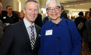 Organizing committee member and table captain Fred Seller, a partner at Brazeau Seller Law, with Deborah Bourchier, managing partner of GGFL, at the Cancer Champions Breakfast held at the Ottawa Conference and Event Centre on Wednesday, May 10, 2017. (Photo by Caroline Phillips)