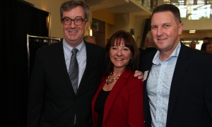 From left, Ottawa Mayor Jim Watson with Linda Eagen, president and CEO of the Ottawa Regional Cancer Foundation, and former board chair Walter Robinson, senior director of government and stakeholder affairs for Purdue Pharma, at the Cancer Champions Breakfast held at the Ottawa Conference and Event Centre on Wednesday, May 10, 2017. (Photo by Caroline Phillips)