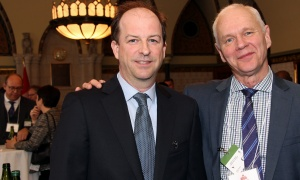 From left, Dave Rodier, vice president of corporate communications with Hill+Knowlton Strategies with Mike Murphy at the Chow Down for Charity Luncheon held on Parliament Hill on Wednesday, May 3, 2017. (Photo by Caroline Phillips)