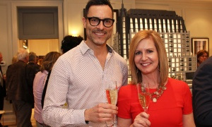 Interior designers Jason Bellaire and Denise Hulaj from StyleHaus Interiors came to check out the styles of the new 1451 Wellington luxury condo residence at its grand opening party held Thursday, May 11, 2017. (Photo by Caroline Phillips)
