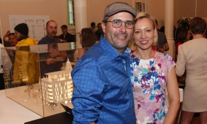 Andrew Reeves, principal architect at Linebox Studio, with his wife, Melissa Reeves, director of operations,  at the official sales launch of St. Charles Market in Beechwood Village, held on Thursday, May 25, 2017. (Photo by Caroline Phillips)