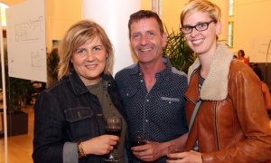 From left, Oresta Korbutiak of ORESTA organic skin care, with her husband, visual artist Christopher Griffin, and Fiona  McKean, owner of The Opinicon dining and resort  at the official sales launch of St. Charles Market in Beechwood Village, held on Thursday, May 25, 2017. (Photo by Caroline Phillips)