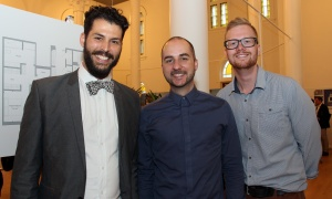 From left, Reggie MacIntosh, Jelle De Roeck and Michael Pranger, with Linebox Studio, at the official sales launch of St. Charles Market in Beechwood Village, held on Thursday, May 25, 2017. (Photo by Caroline Phillips)