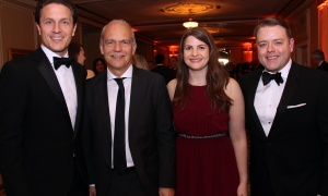 From left, Mark Mulroney, managing director and head of Equity Capital Markets, with Thomas Mueller, president and CEO of the Canada Green Building Council, along with Danya Vered, manager at StrategyCorp, and Regan Watts, head of government and regulatory affairs for IBM Canada, at the Politics & the Pen Gala held at the Château Laurier on Wednesday, May 10, 2017. (Photo by Caroline Phillips)
